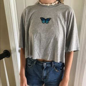 Blue and gray butterfly tee